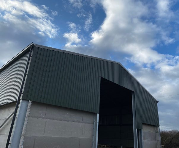 Grain store with galvanised steel